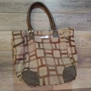 Nine West Tan carry all bag with laptop sleeve